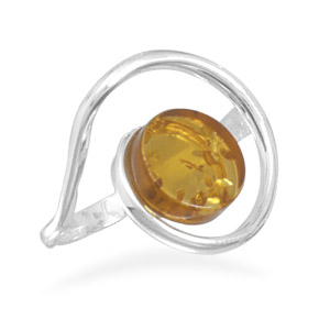Coil Design Amber Ring - DISCONTINUED 925 Sterling Silver