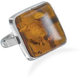 Square Baltic Amber Ring 925 Sterling Silver