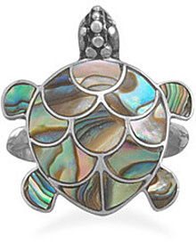 Paua Shell Turtle Ring 925 Sterling Silver