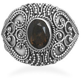 Bali Style Smoky Quartz Ring 925 Sterling Silver