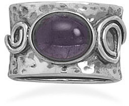 Amethyst with Coil Design Ring 925 Sterling Silver