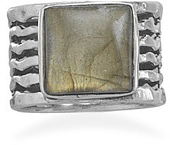 Square Labradorite Ring 925 Sterling Silver