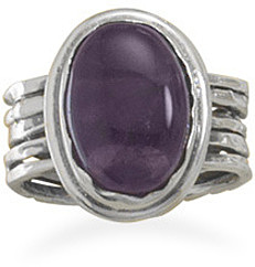 Oval Amethyst Ring 925 Sterling Silver