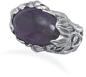 Ornate Floral Amethyst Ring 925 Sterling Silver