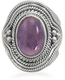 Amethyst Ring with Rope and Bead Design 925 Sterling Silver