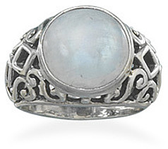 Oxidized Moonstone Ring 925 Sterling Silver