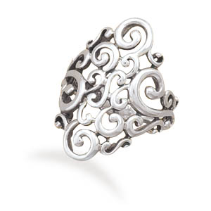 Oxidized Filigree Design Ring - DISCONTINUED 925 Sterling Silver