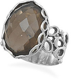 Oval Faceted Smoky Quartz Ring 925 Sterling Silver