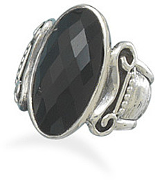 Faceted Oval Black Onyx Ring 925 Sterling Silver