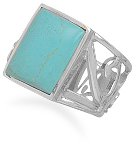 Turquoise Ring with Cut Out Band 925 Sterling Silver