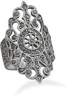 Ornate Marcasite Ring 925 Sterling Silver