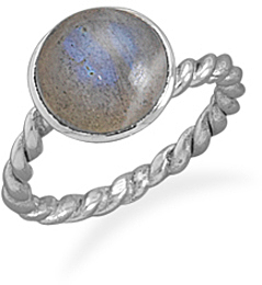 Labradorite Ring with Twist Band 925 Sterling Silver
