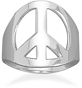 Polished Peace Sign Ring 925 Sterling Silver