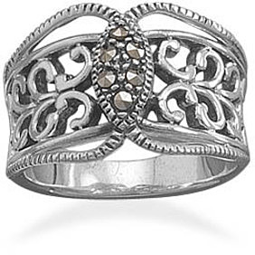 Oxidized Ornate Ring with Marcasite 925 Sterling Silver
