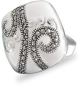 Diamond Shape White Enamel and Marcasite Ring 925 Sterling Silver