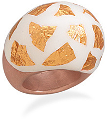 Domed White Enamel and 14 Karat Rose Gold Plated Ring 925 Sterling Silver