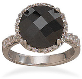 Black Checkerboard Cut CZ Ring 925 Sterling Silver
