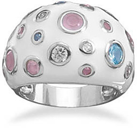 Domed White Enamel and Glass Ring 925 Sterling Silver - LIMITED STOCK