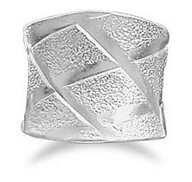 "Wide Ring with ""X"" Design Ring 925 Sterling Silver"