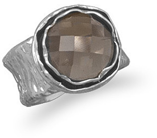 Faceted Smoky Quartz Ring with Textured Band 925 Sterling Silver