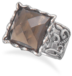 Smoky Quartz Ring with Cut Out Design Band 925 Sterling Silver