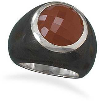 Wood and Carnelian Ring 925 Sterling Silver