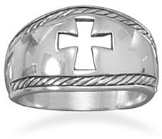 Oxidized Cut Out Cross Ring 925 Sterling Silver