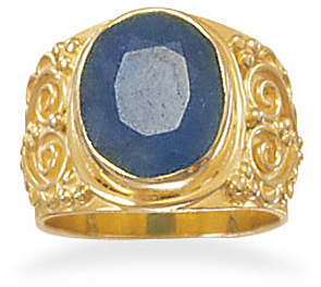 14 Karat Gold Plated Rough-Cut Sapphire Ring 925 Sterling Silver