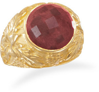Ornate 14 Karat Gold Plated Rough-Cut Ruby Ring 925 Sterling Silver