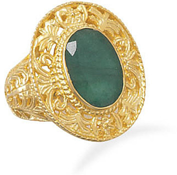 Ornate 14 Karat Gold Plated Rough-Cut Emerald Ring 925 Sterling Silver