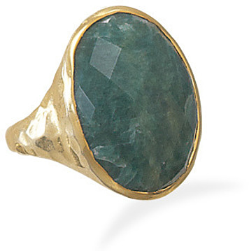 Hammered 14 Karat Gold Plated Rough-Cut Emerald Ring 925 Sterling Silver
