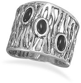 Intricate Design Oxidized Black Onyx Ring 925 Sterling Silver
