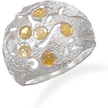 Domed Ring with Citrine 925 Sterling Silver