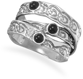 Oxidized Three Row Ring with Black Onyx 925 Sterling Silver
