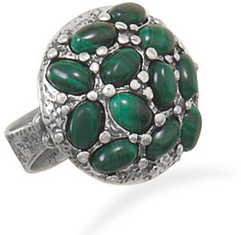 Oxidized Malachite Ring 925 Sterling Silver