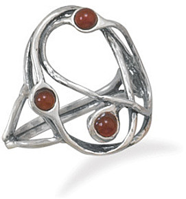 Oxidized Open Abstract Carnelian Ring 925 Sterling Silver