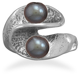 Oxidized Wave Design Ring with Cultured Freshwater Pearls 925 Sterling Silver