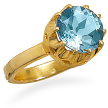 14 Karat Gold Plated Blue Topaz Ring 925 Sterling Silver