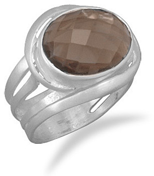 Smoky Quartz Matte Finish Ring 925 Sterling Silver