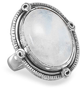 Oxidized Oval Rainbow Moonstone Ring 925 Sterling Silver
