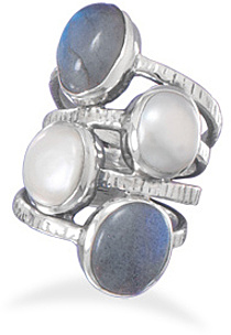 Oxidized Labradorite and Cultured Freshwater Pearl Ring 925 Sterling Silver