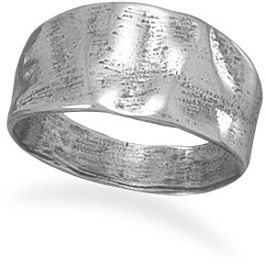 Oxidized Tapered Textured Ring 925 Sterling Silver