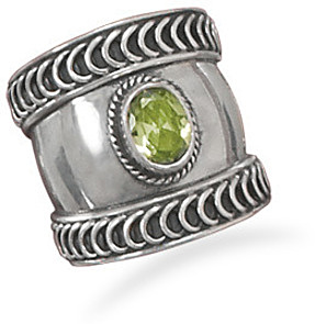 Oxidized Bali Style Ring with Peridot 925 Sterling Silver - DISCONTINUED