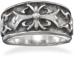 Oxidized Cross Design Ring 925 Sterling Silver