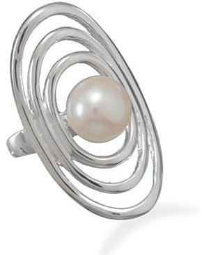 Cut Out Oval Ring with Cultured Freshwater Pearl 925 Sterling Silver
