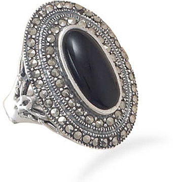 Oxidized Marcasite and Black Onyx Ring 925 Sterling Silver