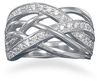 Rhodium Plated and CZ Woven Pattern Ring 925 Sterling Silver