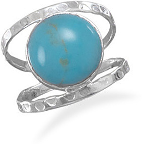 Turquoise Open Band Style Ring 925 Sterling Silver