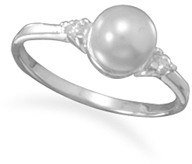 Simulated Pearl and CZ Ring 925 Sterling Silver