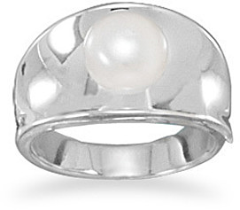 Cultured Freshwater Pearl Ring 925 Sterling Silver
